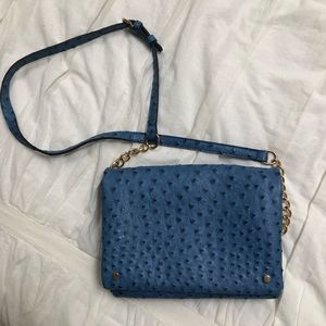 Blue Faux Peacock Crossbody Bag with Gold Chain